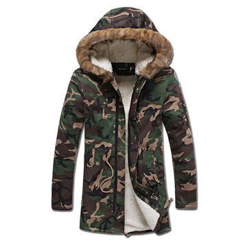 Men Camouflage Veste Homme Jackets Jaqueta Masculina Men's Casual Slim Fit Padded Cotton Hooded Jackets BL
