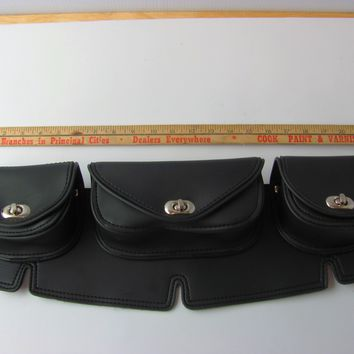 Motorcycle Windshield Bags 3 Pockets Plain Black Fits Harley Windshields