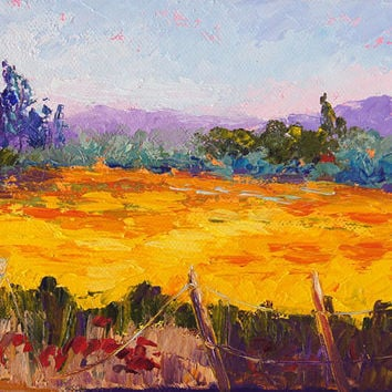 "Oil Painting, ""Fields of Gold Provence"" - Impressionist Landscape Knife painting, impasto painting 6x8inch"