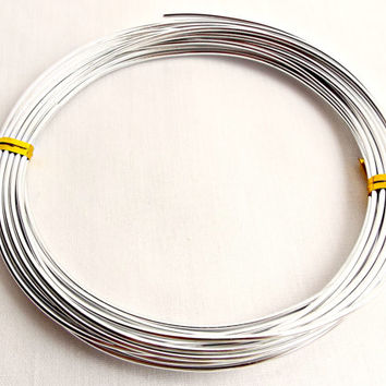 Silver Aluminum Wire, 6M Aluminium Wire, 14 Gauge Wire, Silver Wire Coil, 10 Colors, 1.5mm Craft Wire, Jewelry Supplies
