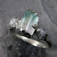 Raw bi color Tourmaline Diamond White Gold Engagement Ring Wedding Ring One Of a Kind Gemstone  Ring Bespoke Three stone