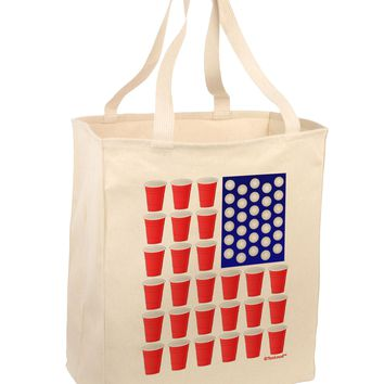 Beer Pong Flag Large Grocery Tote Bag