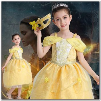 Baby Girls Belle Dress Children Ball Gown Kids Beauty Costume Princess Dress Lace Floral Strapless Birthday Gift Vestido Infant