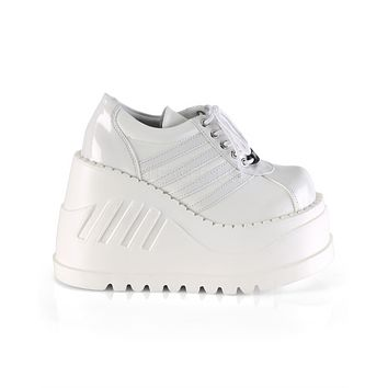 White Stomped Out Rave Platform Shoes