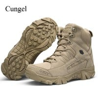 Cungel Outdoor Army Military Shoes men Hiking Shoes Desert Tactical Boot breathable waterproof Climbing Trekking shoes