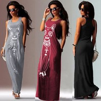 Long Summer Dress Beach Sundress Cat Printed Grey Bodycon Summerstyle Women Dress  Plus Size Maxi Dress