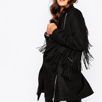 Religion Tailored Wool-Mix Coat With Tassels