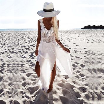 Alluring white chiffon dress with beautiful crochet top design