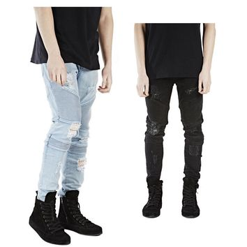 new mens hip hop swag biker jeans true ripped destroyed skinny slim fit black khaki blue famous brand style clothing designer