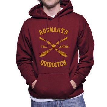 Hogwarts Quidditch team Captain YELLOW print printed on Maroon, Navy or Black Hoodie