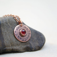 Garnet jewelry / copper necklace / etched pendant / copper gifts