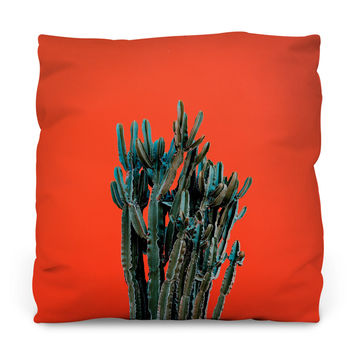 Cactus on Red Throw Pillow
