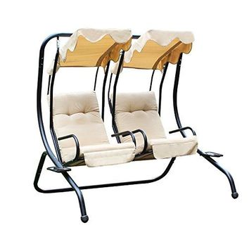 Adeco Canopy Awning Porch Swings Bench Chair, Outdoor (Beige2)