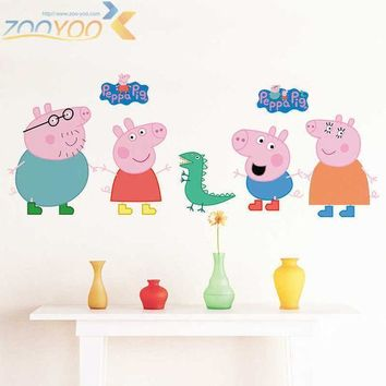 Cartoon Peppa Pig Cute Wall Sticker Bedroom Child Decoration Painting Baby Living Room Wallpaper Diy Removable Home Decor Lch