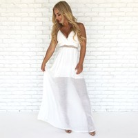 Seascape Crochet Maxi Dress in White