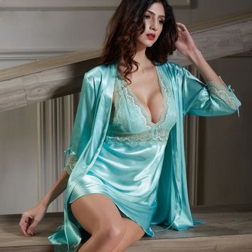 Xifenni Robe Sets Female Softness Satin Silk Sleepwear Women Sexy Lace Deep V-Neck Bathrobes 3 Colors Optional 6621