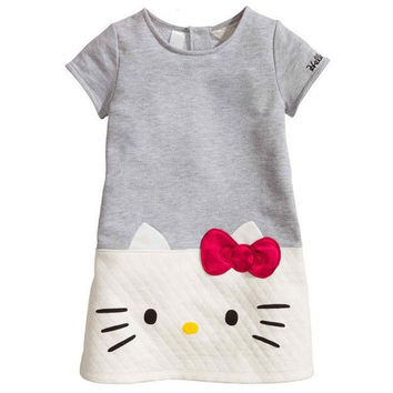 New kitty dress for girls pink bow cotton short sleeve patchwork girl clothes knee length hello kitty girl dress
