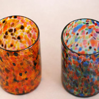 1 Blown Glass Tumbler, comes in two multicolored (not sold as a set)