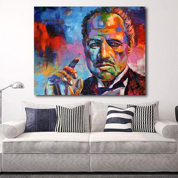 HDARTISAN Figure Painting Colorful Godfather Modern Canvas Art Wall Pictures For Living Room Home Decor Print