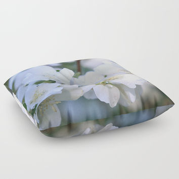 Hawthorne Flowers After Rain Floor Pillow by Theresa Campbell D'August Art