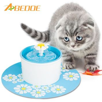 ABEDOE Automatic Cat Flower Fountain Mute Pet Water Dispenser Feeder Bottle with Charcoal Filter&Anti-slip Mat Drinking Fountain