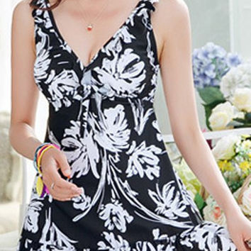 Black Flounced Floral Printed One-Piece Swimwear
