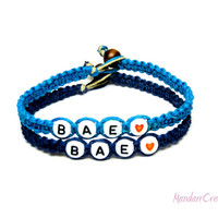 BAE Couples Bracelets, Before Anyone Else, Bright and Dark Blue Hemp Jewelry, Made to Order