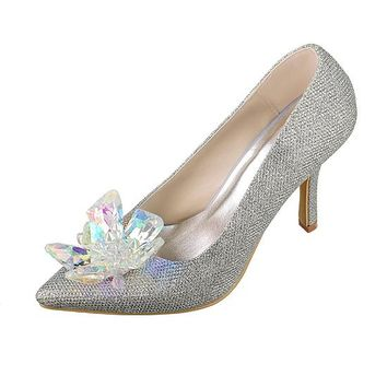 [48.44] Gorgeous Sequins Upper Closed Toe Stiletto Heels Bridal Shoes With Crystal - dressilyme.com