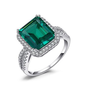 Jewelry Palace Luxury 3.6ct Nano Russian Simulated Emerald Halo Engagement Ring 925 Sterling Silver