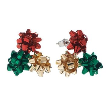 Gold Tone Christmas Bow Cluster Stud Earrings