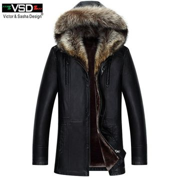 VSD 2018 Big Size XXXL Winter PU Jacket Hat Keep Warm Leather Coat Men's High Quality Hooded Faux Leather Jackets Overcoat VS129