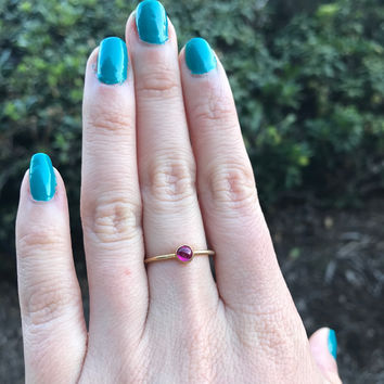 Pink Sapphire Stacking Ring - Ready to Ship - Size 7