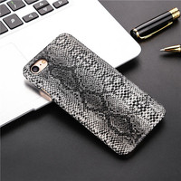 Animal skin 3D embossing design Phone Cases For iPhone 6 6S 6Plus 6sPlus 7 7Plus Lifelike Snake leather pattern PC Back Cover-04410