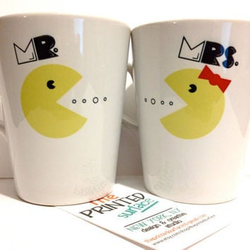 "Latte mug couple set of 2 mugs- ""Mr. Pacman and Mrs. Pacman"" mug set perfect couple gift wedding gift, housewarming Gift yellow red black"