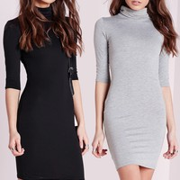 Missguided - 2 Pack Jersey Roll Neck Bodycon Dress Grey/Black