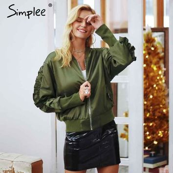 Simplee Army green bomber basic jacket Satin ruffles baseball jacket outerwear Autumn winter casual coat women 2018 streetwear