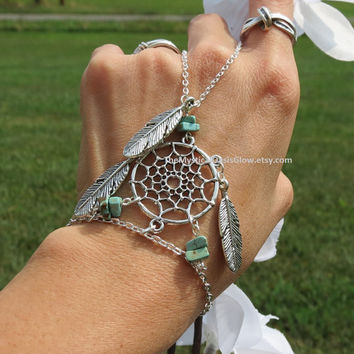 Turquoise DreamCatcher Slave Bracelet, Hand Chain, Dream Catcher, Native American Unity, Native American Jewelry, Slave Bracelets, Bracelet
