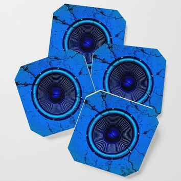 Cracked blue music speaker Coaster by steveball