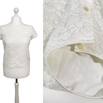 1950's Lace Top | Silver Metallic And White Illusion Lace | 50's Short Sleeved Button Back Blouse | Medium UK12/14 US10