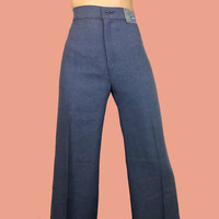 Rare Vintage Levi's Trousers~Size Extra Small~Waist 24/25~70s 80s 90s High Waisted Blue Chambray Flare Wide Leg Work Pants