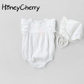 Baby Jumpsuit Girls Doll Collar White Cotton Piece Clothes Fart Romper Hat Up Newborn Baby Clothes Baby Girl Rompers