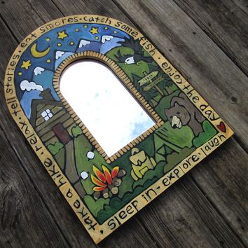 Hand painted custom theme wood mirror
