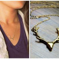 Antler Necklace, small gold deer antlers, tiny antler jewelry
