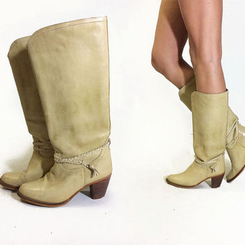 Vintage 1970's CREAM Leather Braided Heeled Western Boho Riding Cowboy Cowgirl Brazilian Boots || Size 7.5 to 8