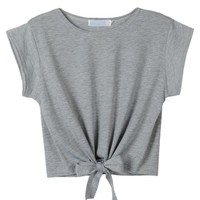 Choies Women's Cotton Gray Summer Tie Front Short Sleeve Round Neck Crop Top, Large