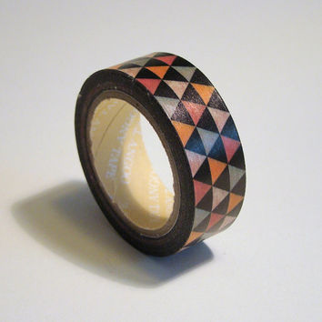 Washi Tape Roll - Geometric Triangles, Cute Scrapbooking Sticker 15mm x 10m