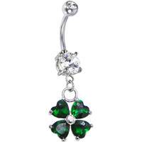 Artisan Crafted Emerald Green Heart Shamrock Belly Ring | Body Candy Body Jewelry