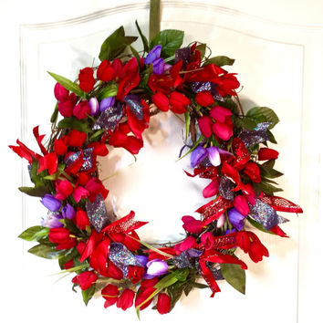 Spring Wreath/Summer Wreath/Red Wreath/Tulip Wreath/Front Door Wreath/Flower Wreath/Floral Wreath/Front Door Decor/Grapevine Wreath, Ribbon