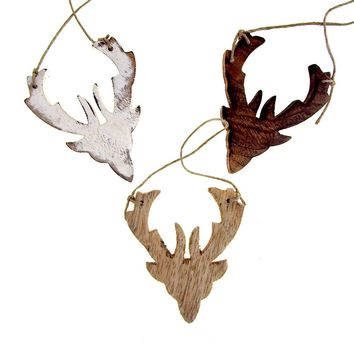 Hanging Distressed Reindeer Head Wooden Christmas Ornament, 3-3/4-Inch