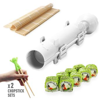 Sushi Set - Sushi Bazooka, Sushi Mat and Two Sets of Bamboo Chopsticks and Silicone Helper (Training) Chopsticks, Cook&Life, Kitchen Appliance Machine Rice Roller Making Kit